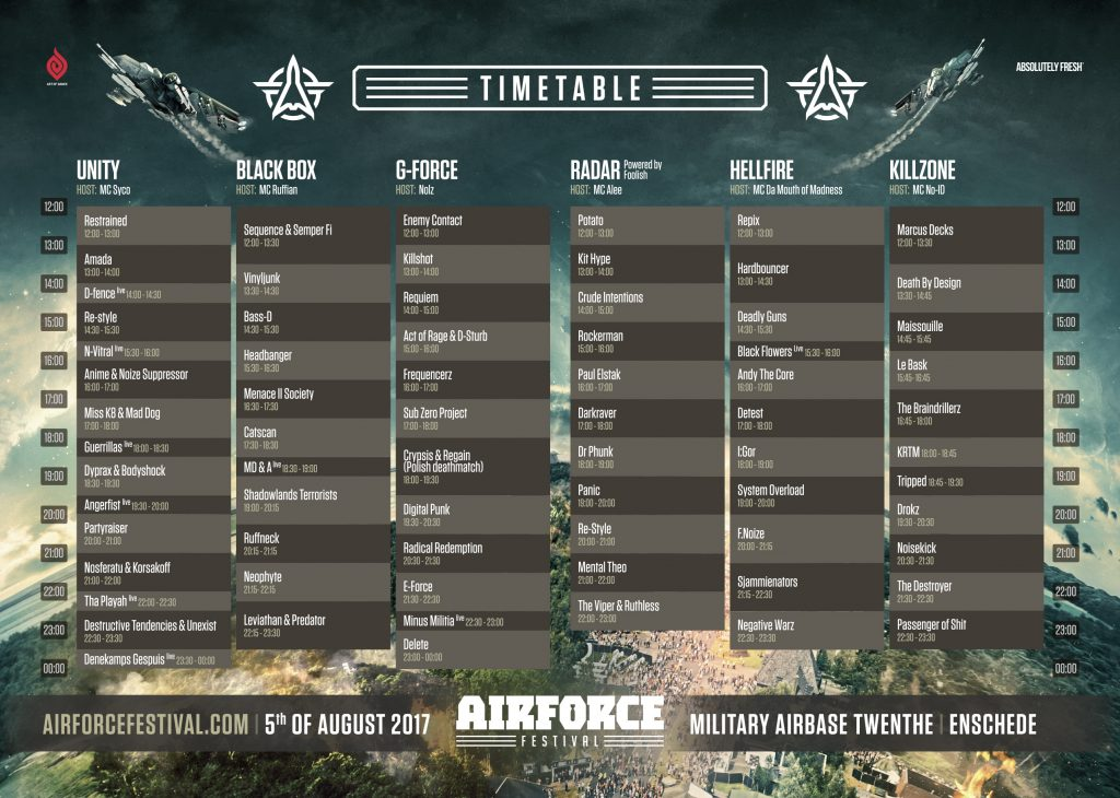 Timetable AIRFORCE Festival – Superior Warfare
