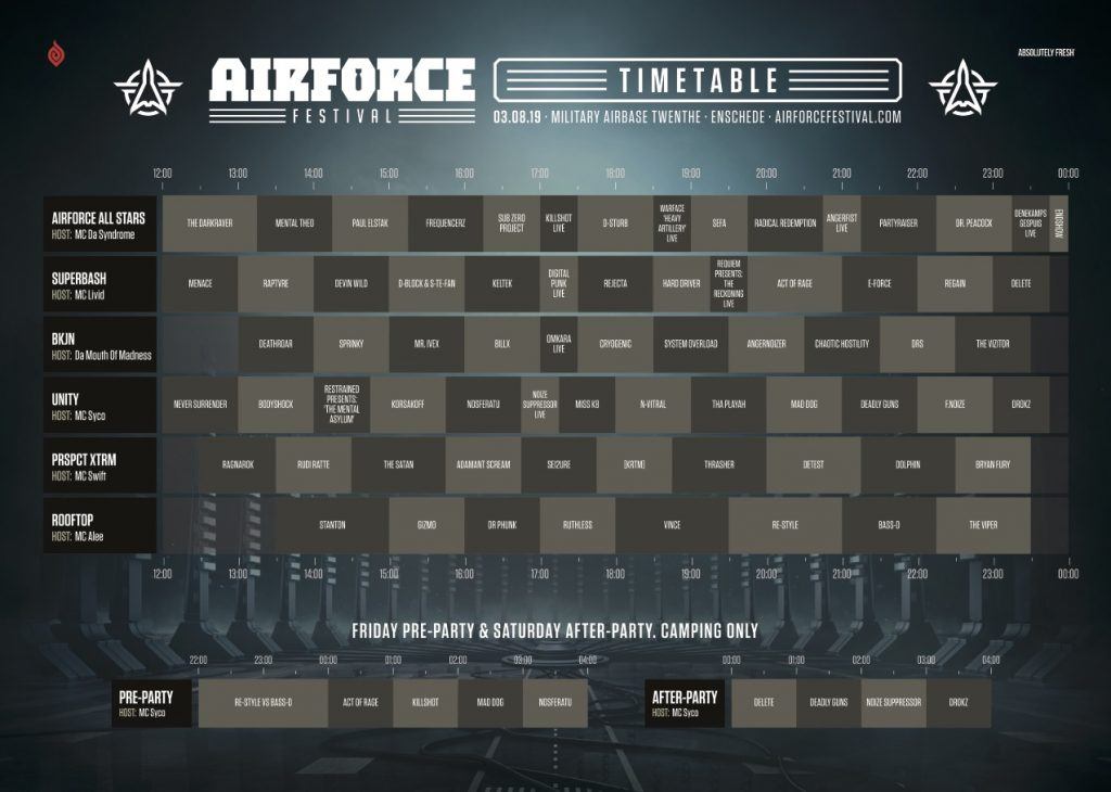 Timetable & Floorplan AIRFORCE Festival 2019 hosting